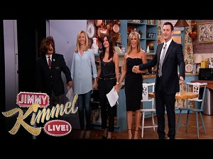 Jennifer Aniston, Courteney Cox, Lisa Kudrow i Jimmy Kimmel w Przyjacio�ach