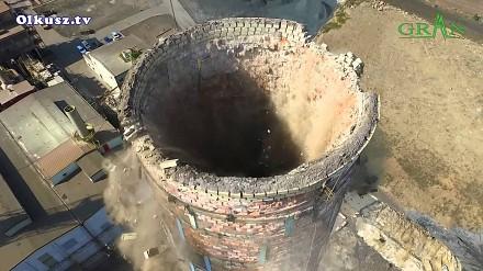 Wyburzenie komina w ZGH Bolesław