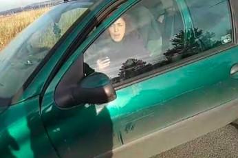 Obywatelskie zatrzymanie kretynki, która wyprowadza psa na spacer... samochodem