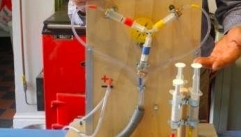 Trójfazowa elektryczność pokazana za pomocą wody i strzykawek