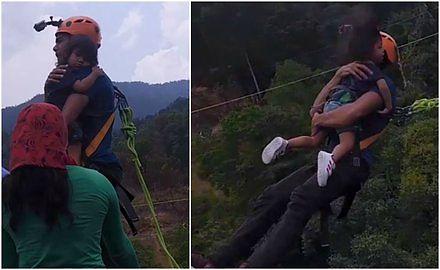 Wziął dwuletnią córkę na ręce i skoczył w przepaść na linie