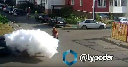 Wybuch butli z gazem w samochodzie na osiedlowym parkingu w Rosji