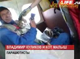 Kot skoczył na spadochronie