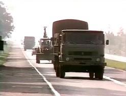 Kontrola drogowa MO. Ciężarówki puste - 1984 rok