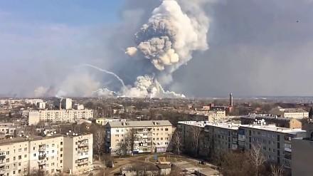 Pożar i potężne eksplozje w składzie amunicji na Ukrainie