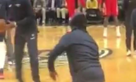 Fan NBA przechytrzył ochronę i rozgrzewał się na parkiecie z zespołem