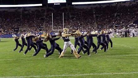 Maskotka zespołu przyłączyła się do występu cheerleaderek